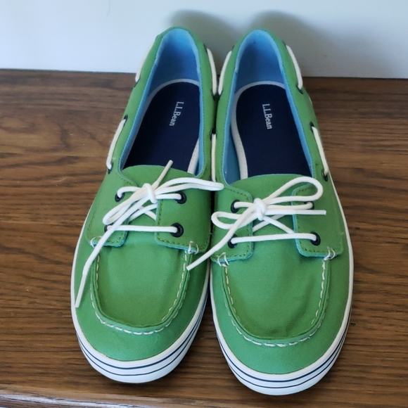 L.L. Bean Slip on Canvas Boat Loafer Shoes NWOT